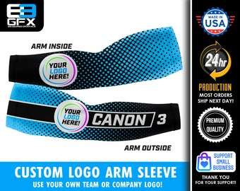 Use Your Own Logo & Pick Your Color Background  - Custom Arm Sleeve (Multiple sizes available)