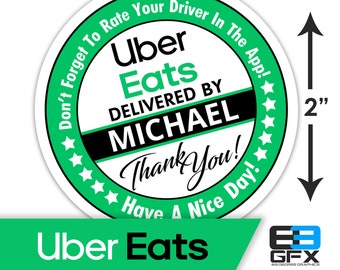 "Personalized! Uber Eats 2"" [ Have A Nice Day ] Delivery Driver Bag Stickers - 20 Stickers Per Sheet- Food Delivery"