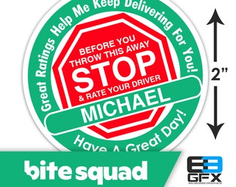"Personalized! Bite Squad [ STOP & Rate Your Driver ] 2"" Delivery Bag Stickers - 20 Stickers Per Sheet- Food Delivery"
