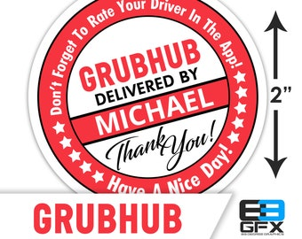 "Personalized! Grubhub 2"" [ Have A Nice Day ] Delivery Driver Bag Stickers - 20 Stickers Per Sheet- Food Delivery"