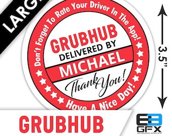"""LARGE Personalized! Grubhub 3.5"""" [ Have A Nice Day ] Delivery Bag Stickers - 6 Stickers Per Sheet- Food Delivery"""
