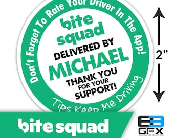"Personalized! Bite Squad 2""x2"" ""Tips Keep Me Driving"" Delivery Bag Stickers - 20 Stickers Per Sheet- Food Delivery"