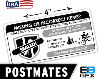 """Postmates 4""""x2"""" [Missing Items - Ratings & Tips ] Delivery Driver Bag Stickers - 10 Stickers Per Sheet- Food Delivery"""