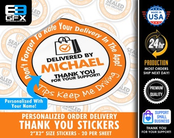 """Personalized! 2""""x2"""" Orange Delivery [ Tips Keep Me Driving ] Delivery Driver Bag Stickers - 20 Stickers Per Sheet- Food Delivery"""