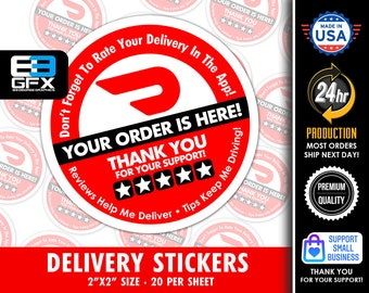 """Doordash Themed Delivery 2""""x2"""" - 5 Stars - Delivery Bag Stickers - 20 Stickers Per Sheet- Food Delivery"""