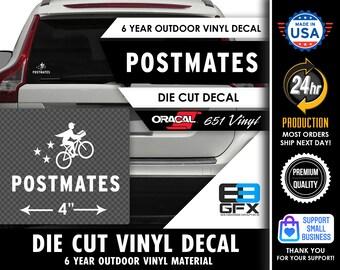 """4"""" Wide PostMates Delivery Vinyl Die Cut Decal - Food Delivery"""