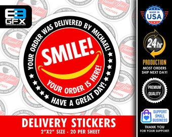 """2"""" [ SMILE Your Order Is Here! ] Delivery Driver Bag Stickers - 20 Stickers Per Sheet- Food Delivery"""