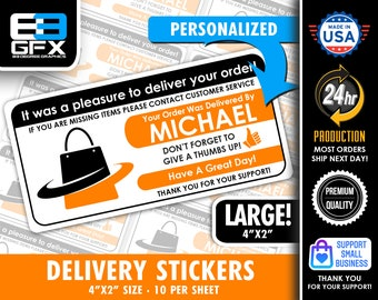 """Personalized! Orange Delivery 4""""x2"""" [Bag Icon] Delivery Driver Bag Stickers - 10 Stickers Per Sheet- Food Delivery"""