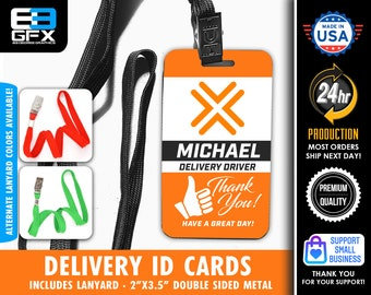 PERSONALIZED - Thumbs Up - Double Sided Delivery Lanyard Cards - Lanyard Included