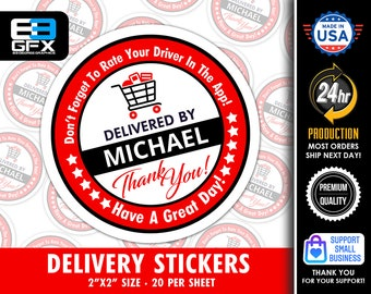 """Personalized! 2"""" [ Have A Great Day] Red Delivery Driver Bag Stickers - 20 Stickers Per Sheet- Food Delivery"""