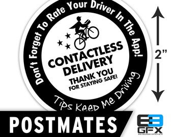 """Postmates 2""""x2"""" Contactless Delivery Bag Stickers - 20 Stickers Per Sheet- Food Delivery"""