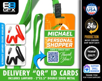 """QR TIP Code - Personalized - Double Sided Delivery Metal Lanyard ID Card (Includes Colored Lanyard) 2""""x3.5"""""""