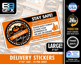 """Personalized! Halloween Theme """"Pumpkins"""" 4""""x2"""" Delivery Driver Bag Stickers - 10 Stickers Per Sheet- Food Delivery"""