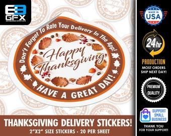 Happy Thanksgiving - Delivery Driver Bag Stickers - 20 Stickers Per Sheet- Food Delivery