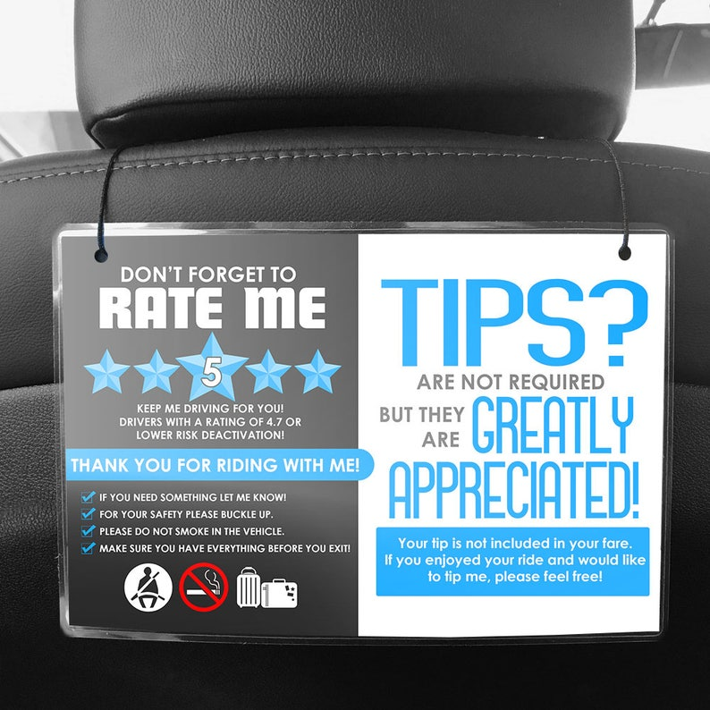 Uber or Lyft Headrest Seat Back Signs - Pair of 2 - 5 Star Ratings & Tips  (V4)- Multiple Colors Available