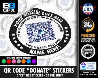 """Personalized! Make A Donation - 2""""x2"""" """"DIRECT TIP"""" QR Code Stickers - 20 Stickers Per Sheet"""