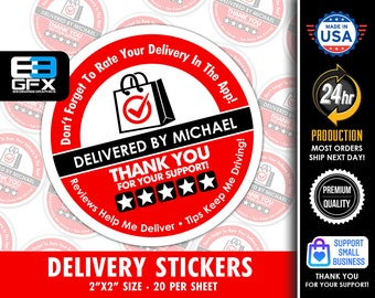"""Personalized! 2"""" [ FIVE STAR ]  Red Delivery Driver Bag Stickers - 20 Stickers Per Sheet- Food Delivery"""