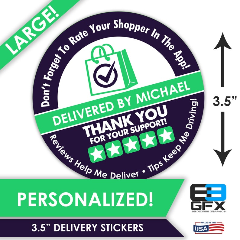 Delivery Bag Stickers 6 Stickers Per Sheet- Food Delivery 5 Star Bag 3.5 LARGE Personalized