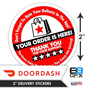 Food Delivery 20 Stickers Per Sheet Delivery Bag Stickers Grubhub 2x2-5 Stars