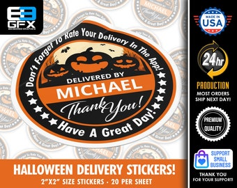 """Personalized! Halloween Theme """"Pumpkins"""" Delivery Driver Bag Stickers - 20 Stickers Per Sheet- Food Delivery"""