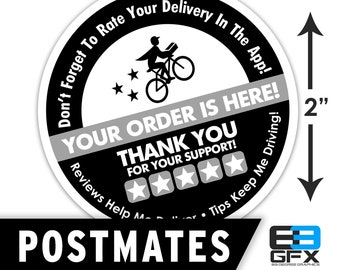 """Postmates 2""""x2"""" - 5 Stars - Delivery Bag Stickers - 20 Stickers Per Sheet- Food Delivery"""