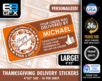 """Personalized! Happy Thanksgiving Theme 4""""x2"""" Delivery Driver Bag Stickers - 10 Stickers Per Sheet- Food Delivery"""