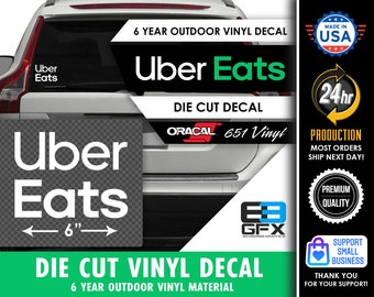 """6"""" wide Uber Eats Delivery Vinyl Die Cut Decal - White Stacked 2020- Food Delivery"""