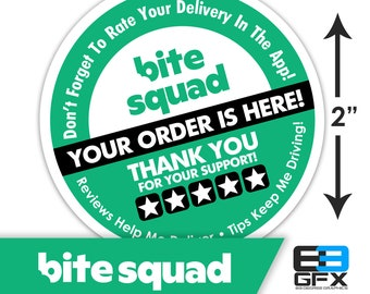 """Bite Squad 2""""x2"""" - 5 Stars - Delivery Bag Stickers - 20 Stickers Per Sheet- Food Delivery"""
