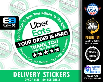 """Uber Eats 2""""x2"""" - 5 Stars - Delivery Bag Stickers - 20 Stickers Per Sheet- Food Delivery"""