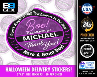 """Personalized! Halloween Theme """"BOO"""" with bats Delivery Driver Bag Stickers - 20 Stickers Per Sheet- Food Delivery"""