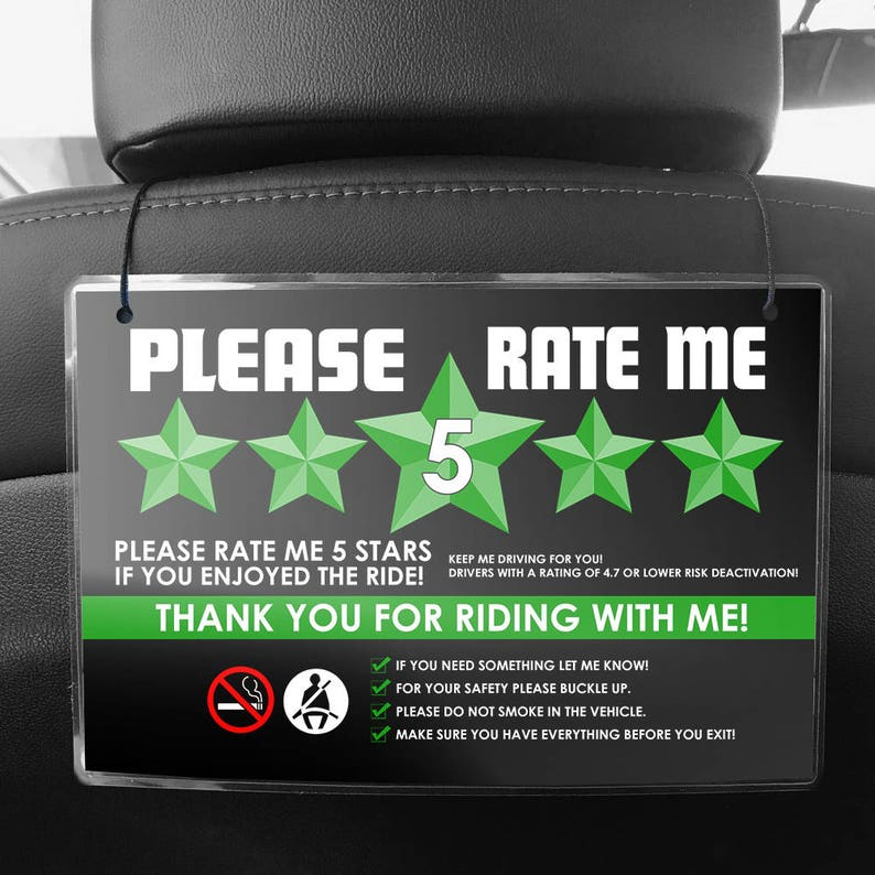Uber or Lyft Headrest Seat Back Signs - (Pair of 2) - 5 Star Ratings &  Ride-share Rules (V5)- GREEN