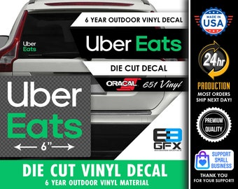 """6"""" wide Uber Eats Delivery Vinyl Die Cut Decal - Green Stacked 2020- Food Delivery"""