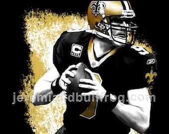 90a6f9d0a New Orleans Saints Drew Brees - 13x19 Football Art Poster   Print - WHO DAT