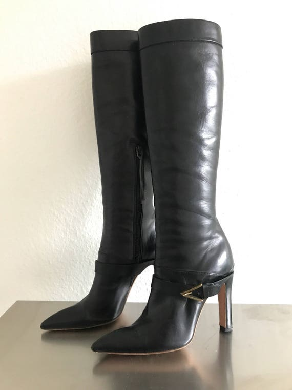 Azzedine Alaia Stunning Black Leather boots Vintag