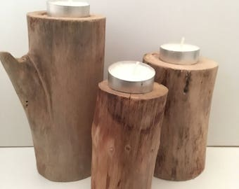 Trio of Natural, solid wood candle holders