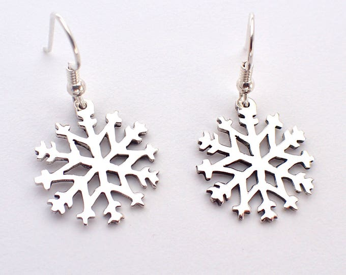 Featured listing image: Snowflake Earrings, (style-2) Hand-carved Silver Dimes or Quarters