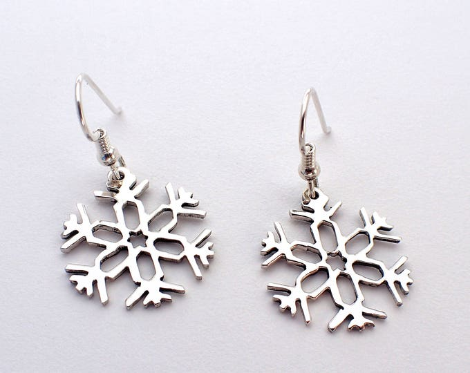 Featured listing image: Snowflake Earrings, (style-3) Hand-carved Silver Dimes or Quarters