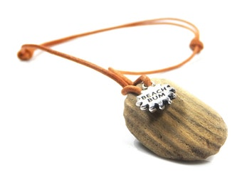 Driftwood Necklace with Beach Bum Motif – Beach Jewellery – Festival Jewellery – Gift Boxed
