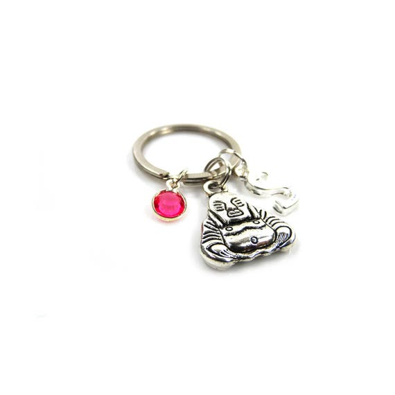 Personalised Buddha Keyring with Initial Charm and Optional Birthstone Charm