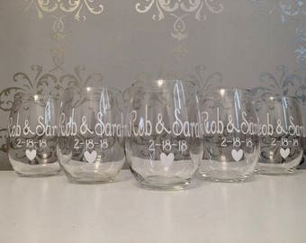 Custom wedding glasses, custom wedding wine glass, custom wedding gifts, custom glasses for wedding favors, custom wedding favors