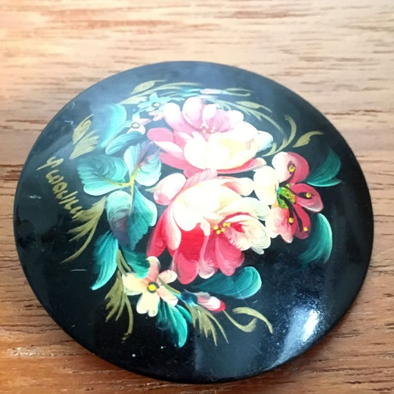 Khokhloma brooch / Russian Lacquer Brooch, USSR je