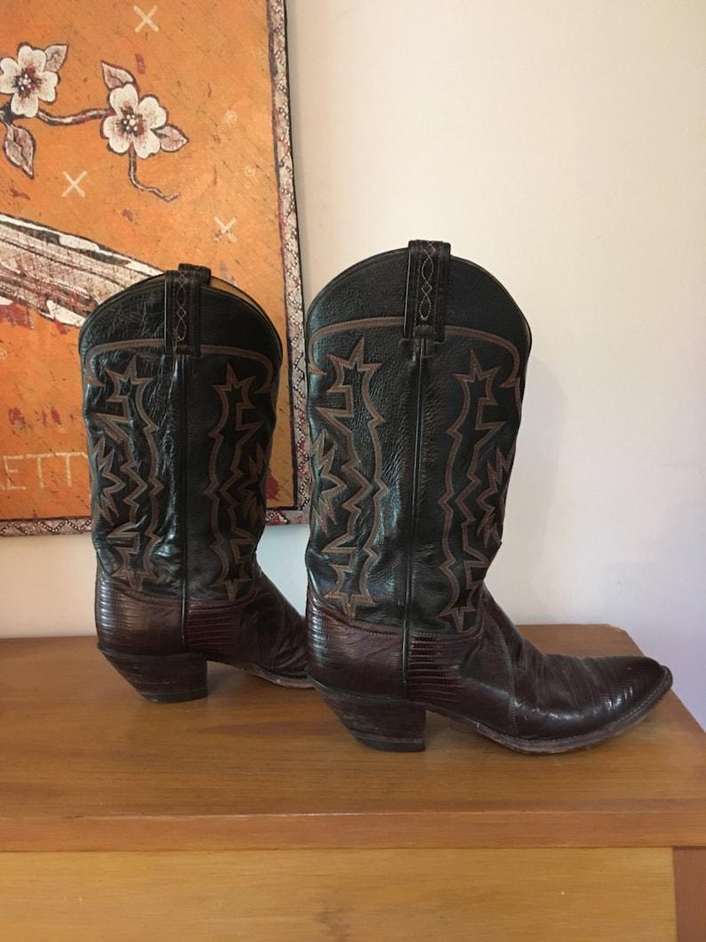 51086367581 Vintage Tony Lama boots // Black Label // Lizard skin cowboy boots //  Rockabilly