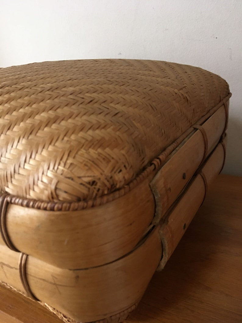 vintage basket Peoples Republic of China Vintage Chinese Woven Suitcase  vintage luggage hand woven