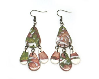 Polymer clay earrings, Clay jewelry, Drop earrings, Jewelry gift for her, Dangly earrings