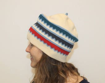 Pure Wool Vintage 80s Ski Hat Colorblock Winter Hat Green Blue White Red  Block Stripes Knitted Hat Pointy Top Ski Beanie Striped Mens Wool 8c26db090c5