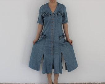 768f353cac Grunge Denim Dress 90s Jean Baggy Dress Sun Washed Deep Split Pockets Long Dress  Short Sleeves Bib Overalls Long Jumper Sarafan Medium