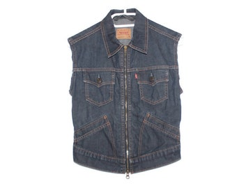 f9281c0192bbf3 Levi Jean Jacket Vest Vintage Levi Cut off Jacket Sz Small Distressed Denim  Top Blue Jean Coat Levi Red Tag Trucker Womans Country Western