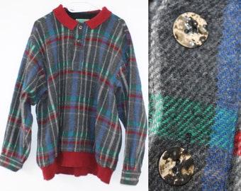 1d04011027eff 90 s laine Bomber Veste homme Vintage des années 90 géométrique veste des  années 1980 Zip Up laine Veste hiver taille grand L rayé Long Manche  nautique ...