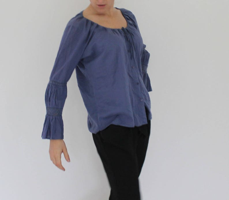 PEAK Blue Cotton Blouse Sky Blue Blouse Womens Top 34 Sleeve elegant fitted Blouse Open Shoulders Top Designed in Sweden Large Size