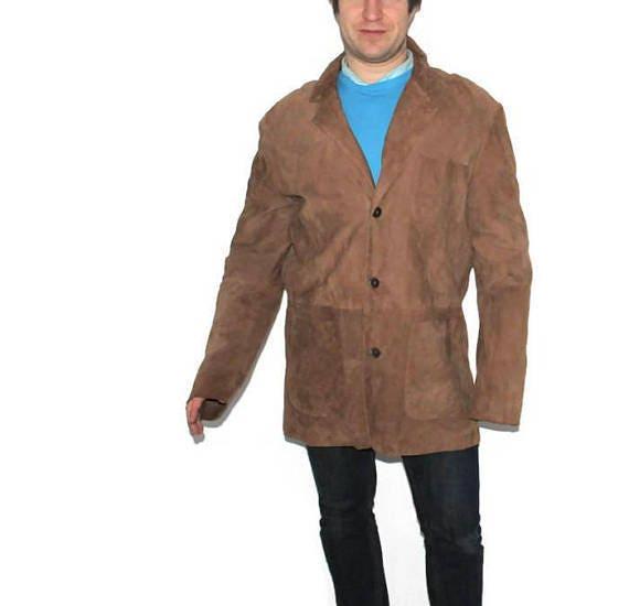 Gefüttert Oversized Lederjacke Mantel Decke Südwestlichen Vintage Aztec Lange Herren Braun 80er Jacke Oberbekleidung Blazer Wildleder Jahre uOkTPiXZ
